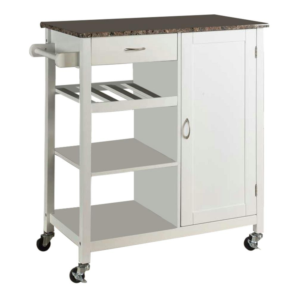 Kitchen Trolley Laminates: Kings Brand Furniture White Wood With Marble Laminate