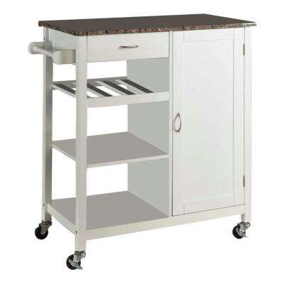 White Wood with Marble Laminate Kitchen Storage Serving Cart