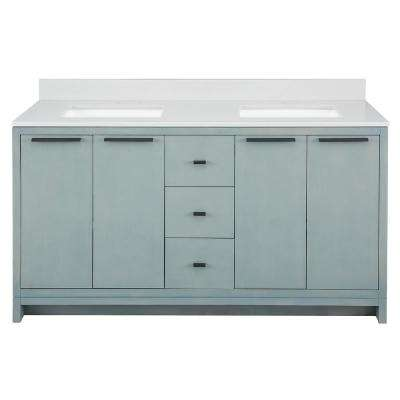 Everhart 61 in. W x 22 in. D Vanity Cabinet in Light Grey with Engineered Stone Vanity Top in White with White Sinks