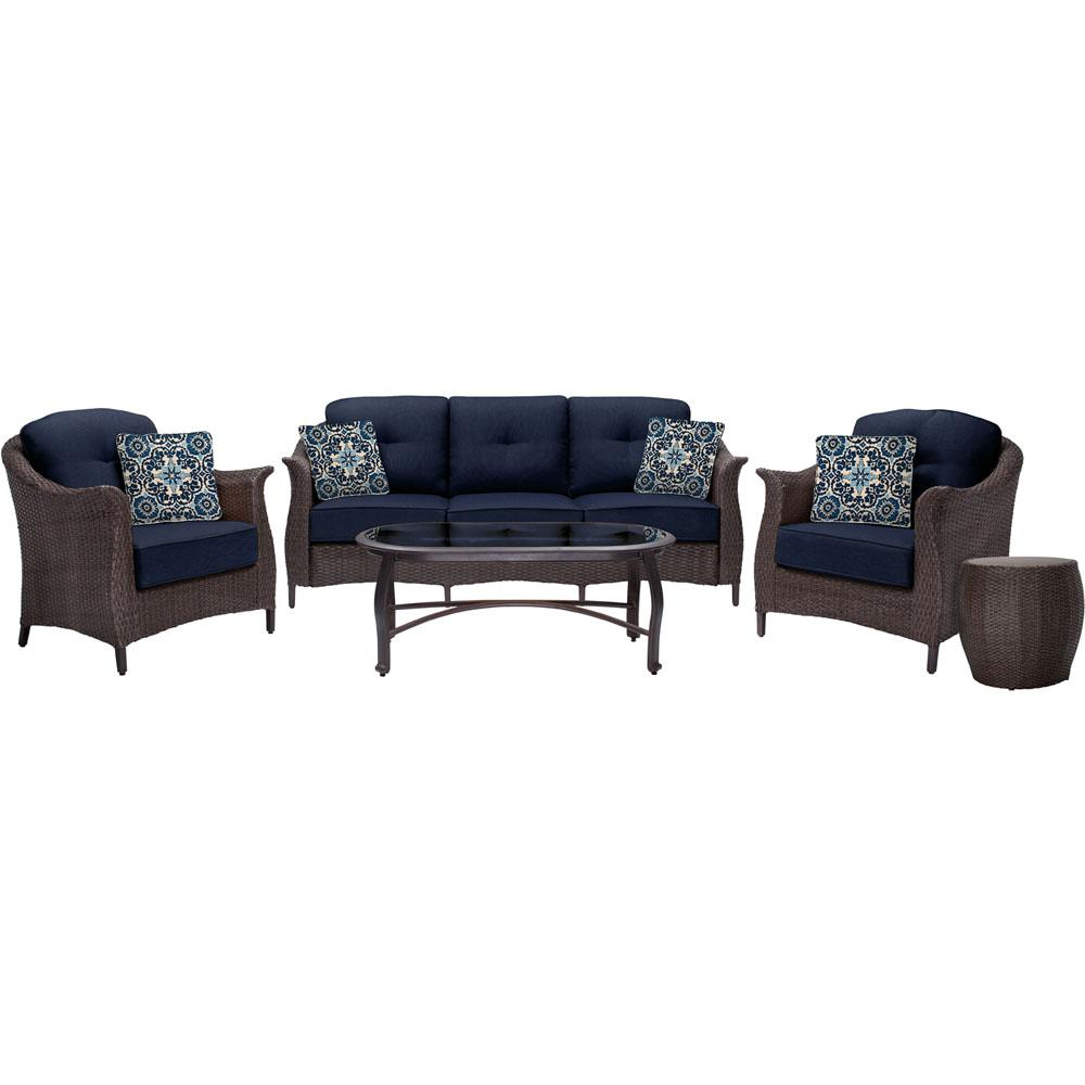 Gramercy 5-Piece Metal Patio Seating Set with Navy Blue Cushions