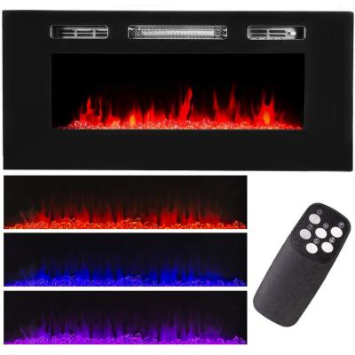 40 in. 5,100 BTU Recessed In-Wall Electric Heater Smokeless Fireplace with 3-Changeable Flame Color and Remote Control
