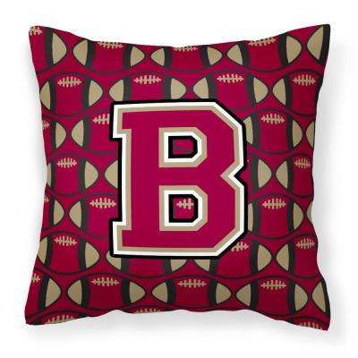 14 in. x 14 in. Multi-Color Lumbar Outdoor Throw Pillow Letter B Football Garnet and Gold
