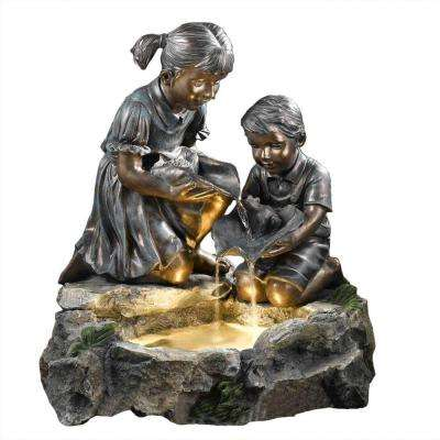 Fratelli Siblings Rock Outdoor/Indoor Fountain with Light