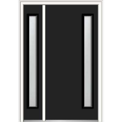 48 in. x 80 in. Viola Clear Low-E Left-Hand Inswing 1-Lite Midcentury Painted Steel Prehung Front Door with Sidelite