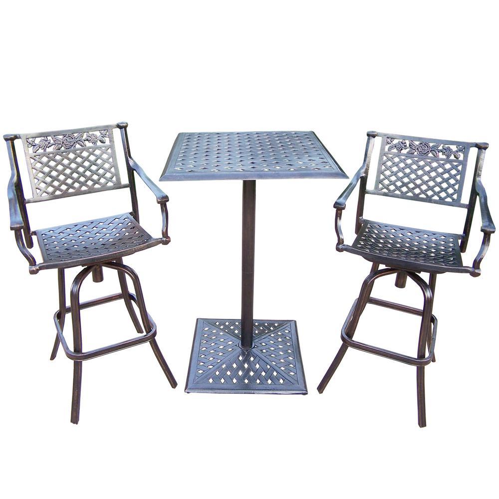 Rose 3-Piece Metal Outdoor Bar Height Dining Set