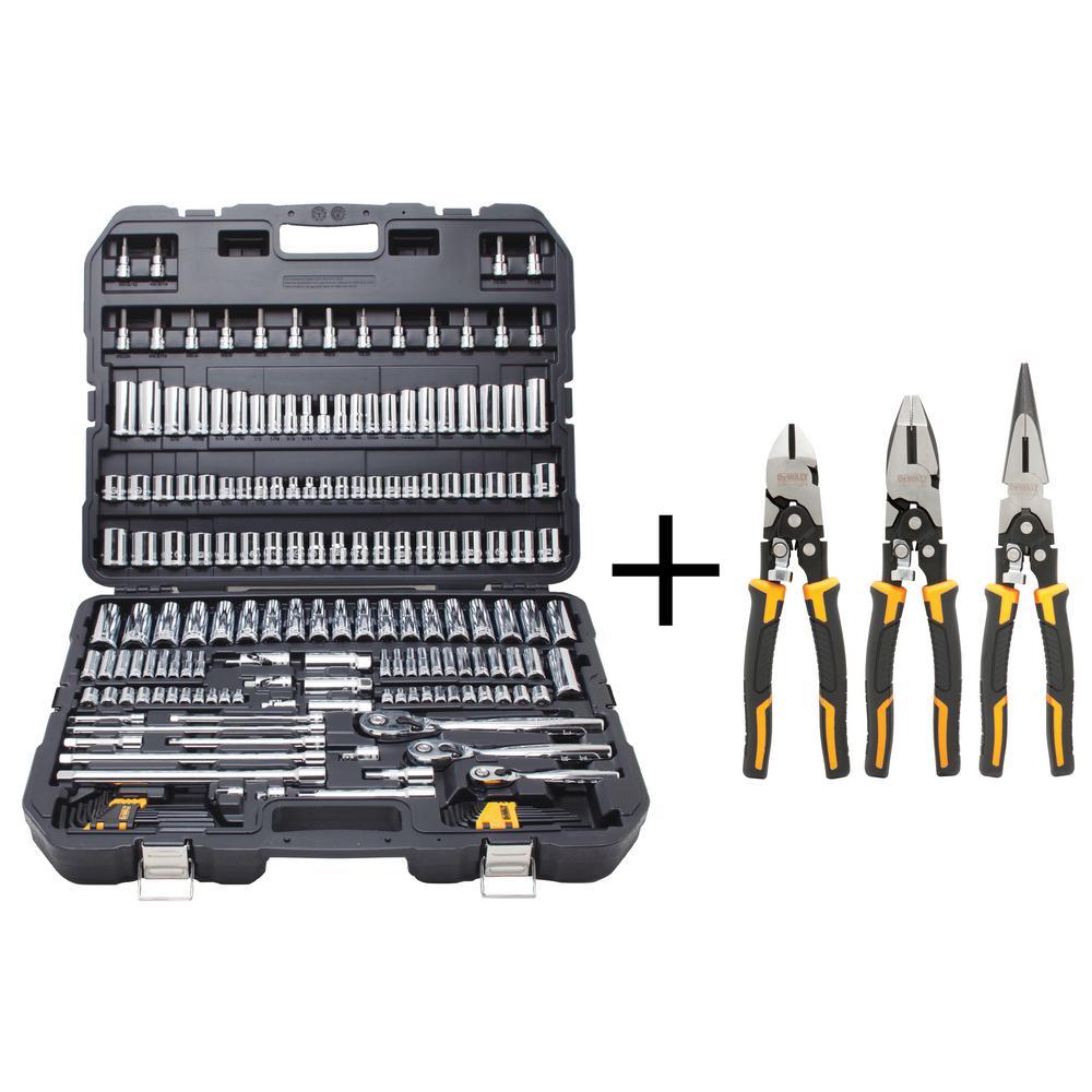 Chrome Vanadium Mechanics Tool Set (192-Piece) with Compound Pliers Set (3-Piece)