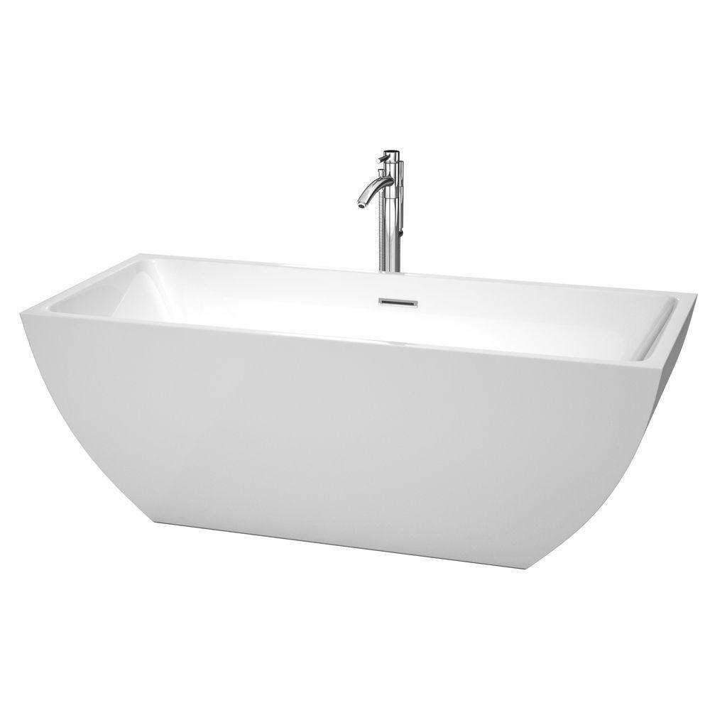 Rachel 67 in. Acrylic Flatbottom Center Drain Soaking Tub in White