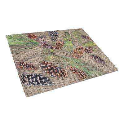 Pine Cones Tempered Glass Large Cutting Board