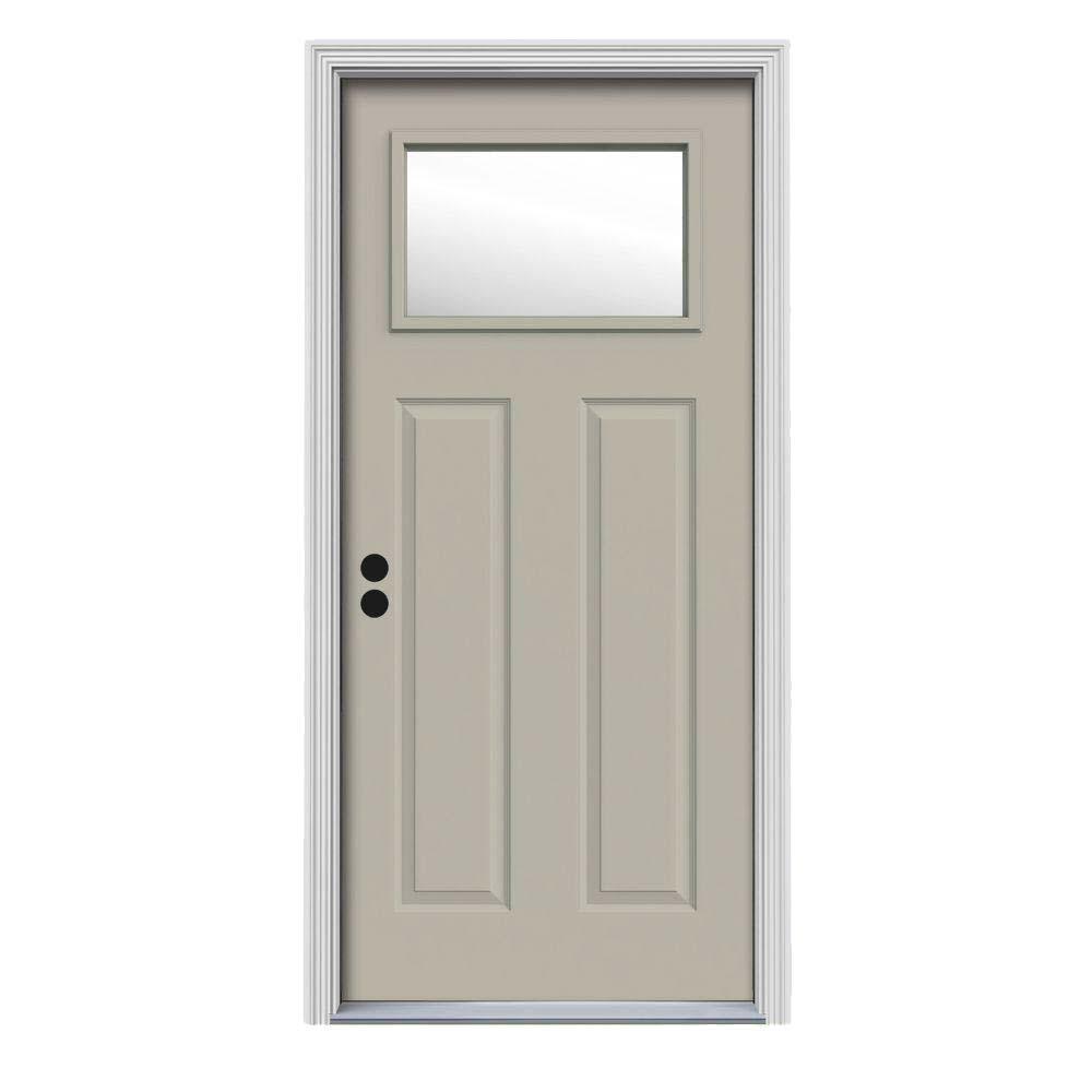 34 in. x 80 in. 1 Lite Craftsman Desert Sand Painted Steel Prehung Right-Hand Inswing Front Door w/Brickmould