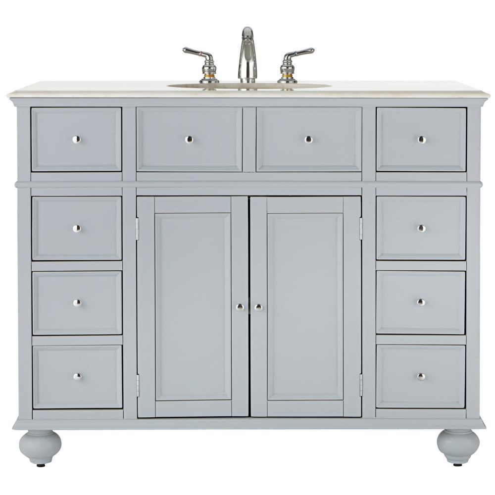 Home Decorators Collection Hampton Harbor 44 in. W x 22 in. D Bath Vanity in Dove Grey with Natural Marble Vanity Top in White