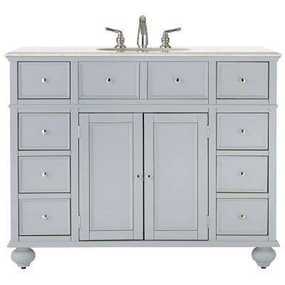 Hampton Harbor 44 in. W x 22 in. D Bath Vanity in Dove Grey with Natural Marble Vanity Top in White