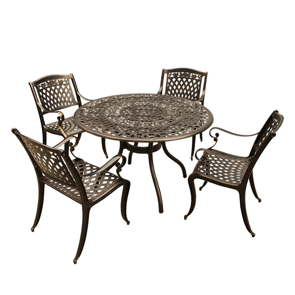 Rose Ornate 5-Piece Bronze Aluminum Round Outdoor Dining Set with 4 ...