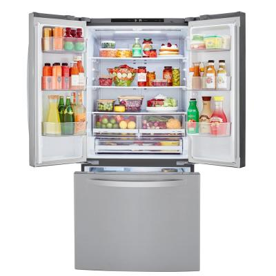 33 in. 25 cu. ft. 3-Door French Door Refrigerator in PrintProof Stainless Steel