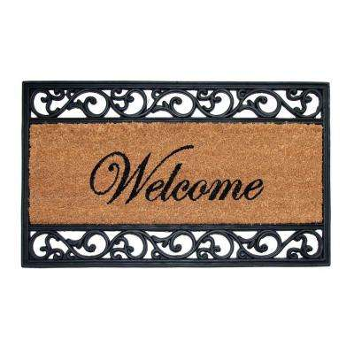 Welcome 18 in. x 30 in. Coir and Rubber Door Mat