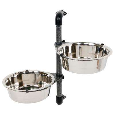14.75 in. H Dog Bowls with Adjustable Height Wall Mount 2 Stainless Steel Bowls