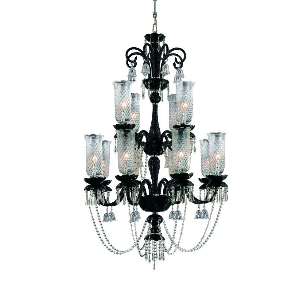 Mariah Collection 12-Light Black Hanging Chandelier