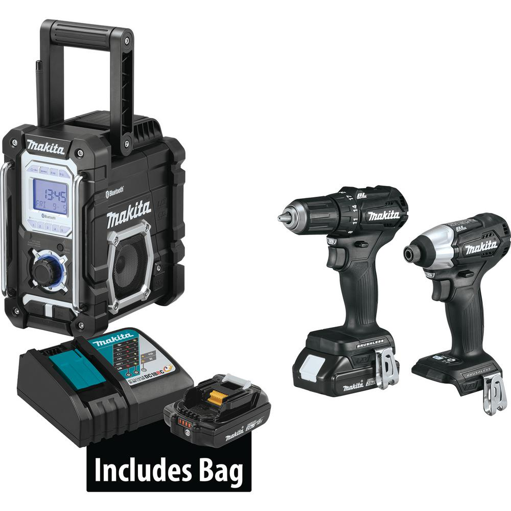 Makita 18-Volt 3-Piece 2.0Ah LXT Lithium-Ion Sub-Compact Brushless Cordless Combo Kit Driver-Drill/ Impact Driver/ Radio