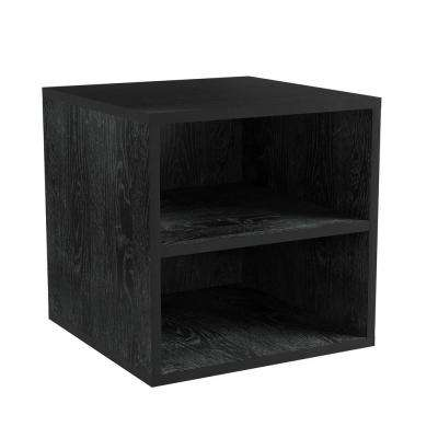 Black Modular Cube End Table with 2-Shelves