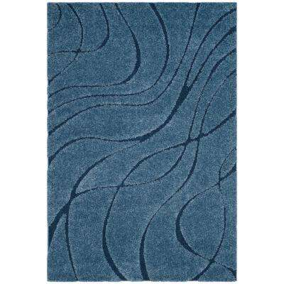 Florida Shag Light Blue/Blue 6 ft. x 9 ft. Area Rug