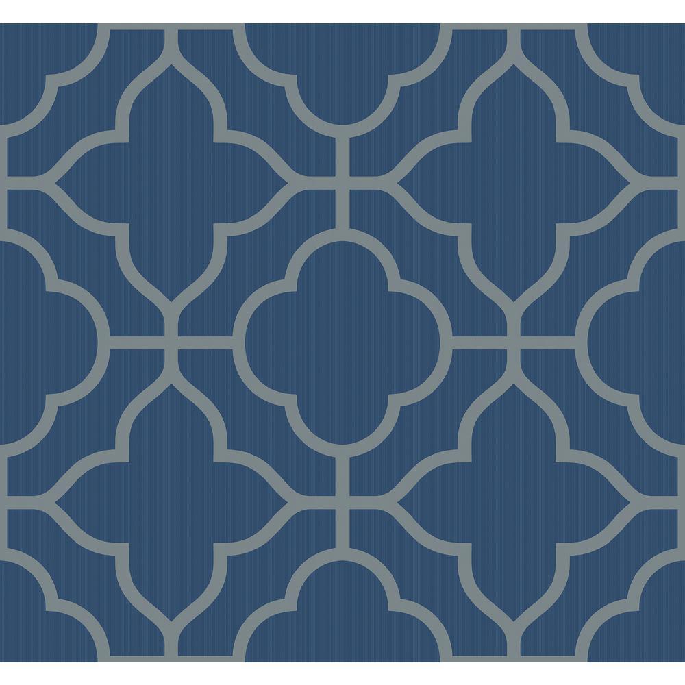 . Geo Trellis Metallic Silver and Cobalt Contemporary Wallpaper