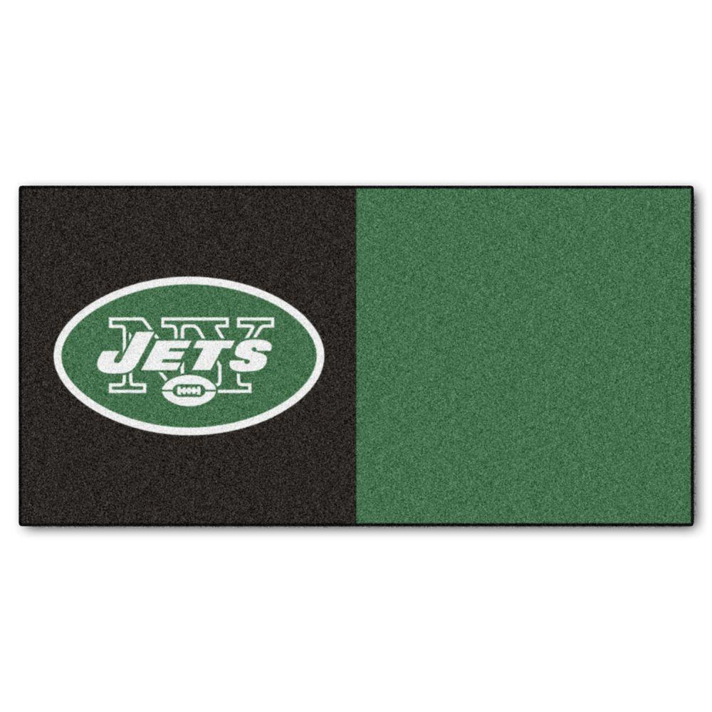 FANMATS NFL - New York Jets Black and Green Nylon 18 in. x 18 in. Carpet Tile (20 Tiles/Case)
