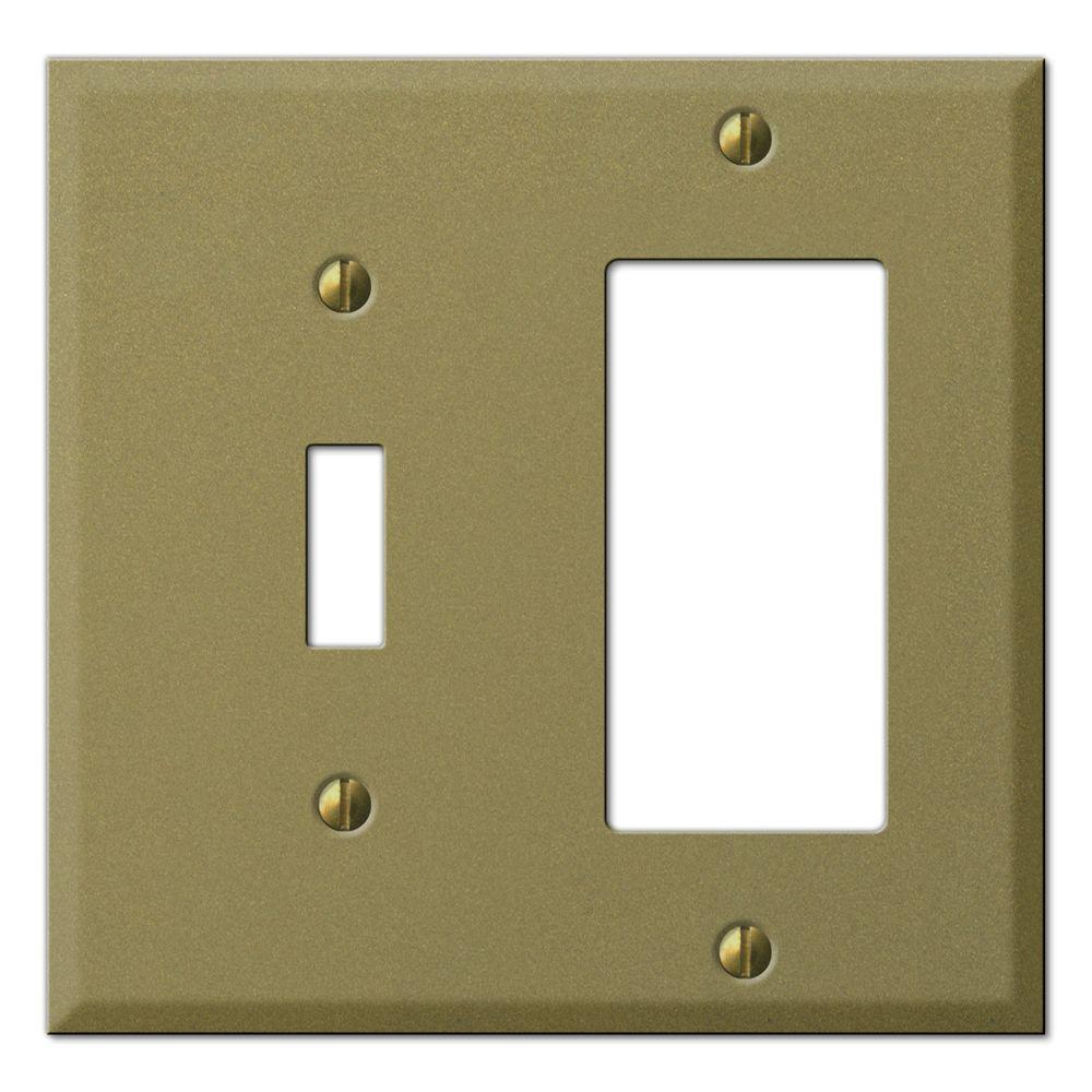 Creative Accents Steel 1 Toggle 1 Decora Wall Plate - Antique Brass