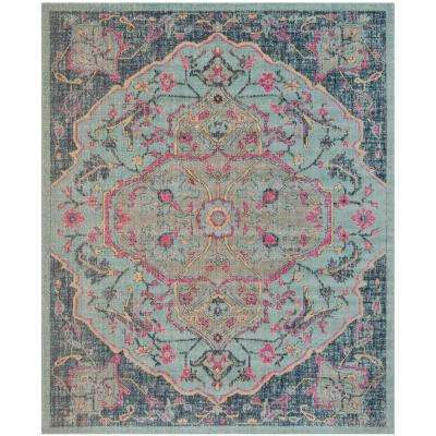 Artisan Light Blue/Navy 9 ft. x 12 ft. Area Rug