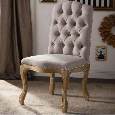Hudson Beige Fabric Upholstered Dining Chair