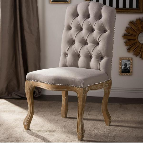Baxton Studio Hudson Beige Fabric Upholstered Dining Chair 28862-6673-HD