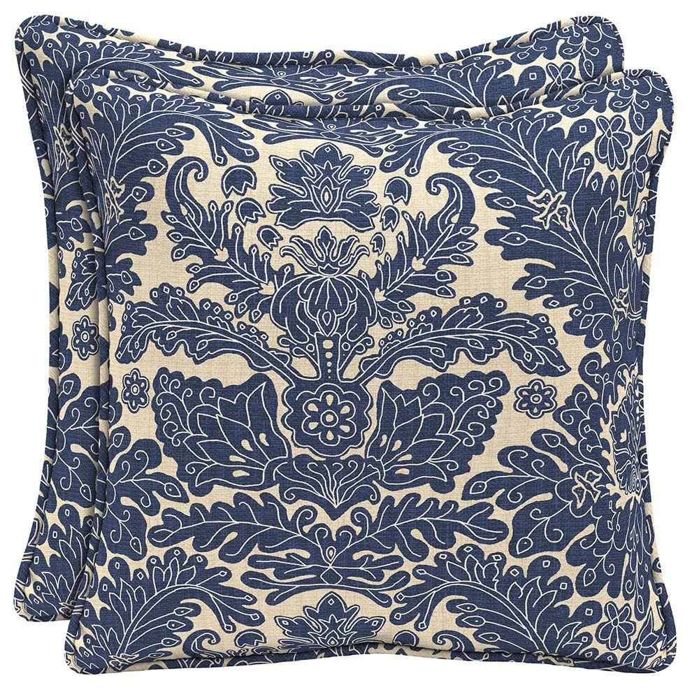 Chelsea Damask Outdoor Throw Pillow (2-Pack)