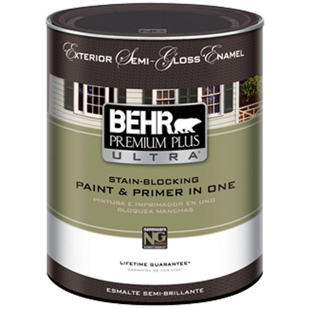 BEHR Premium Plus Ultra 1-Qt. white Semi-Gloss Enamel Exterior Paint