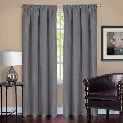 Harmony Grey Polyester Rod Pocket Blackout Panel - 52 in. W x 63 in. L