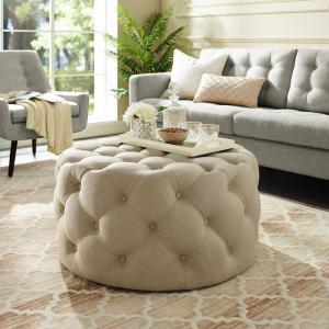 Awe Inspiring Inspired Home Drita Cocktail Table Ottoman Beige Linen Short Links Chair Design For Home Short Linksinfo
