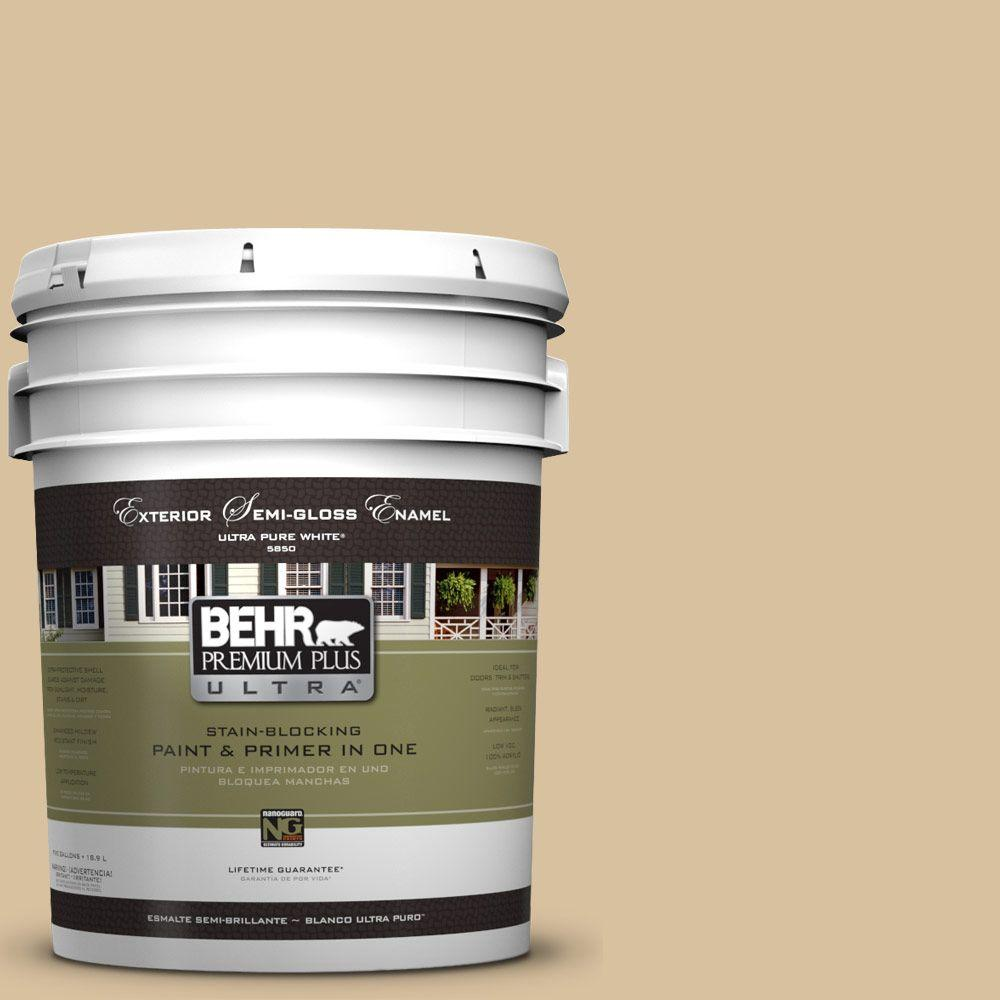 BEHR Premium Plus Ultra 5-gal. #UL160-7 Pale Wheat Semi-Gloss Enamel Exterior Paint