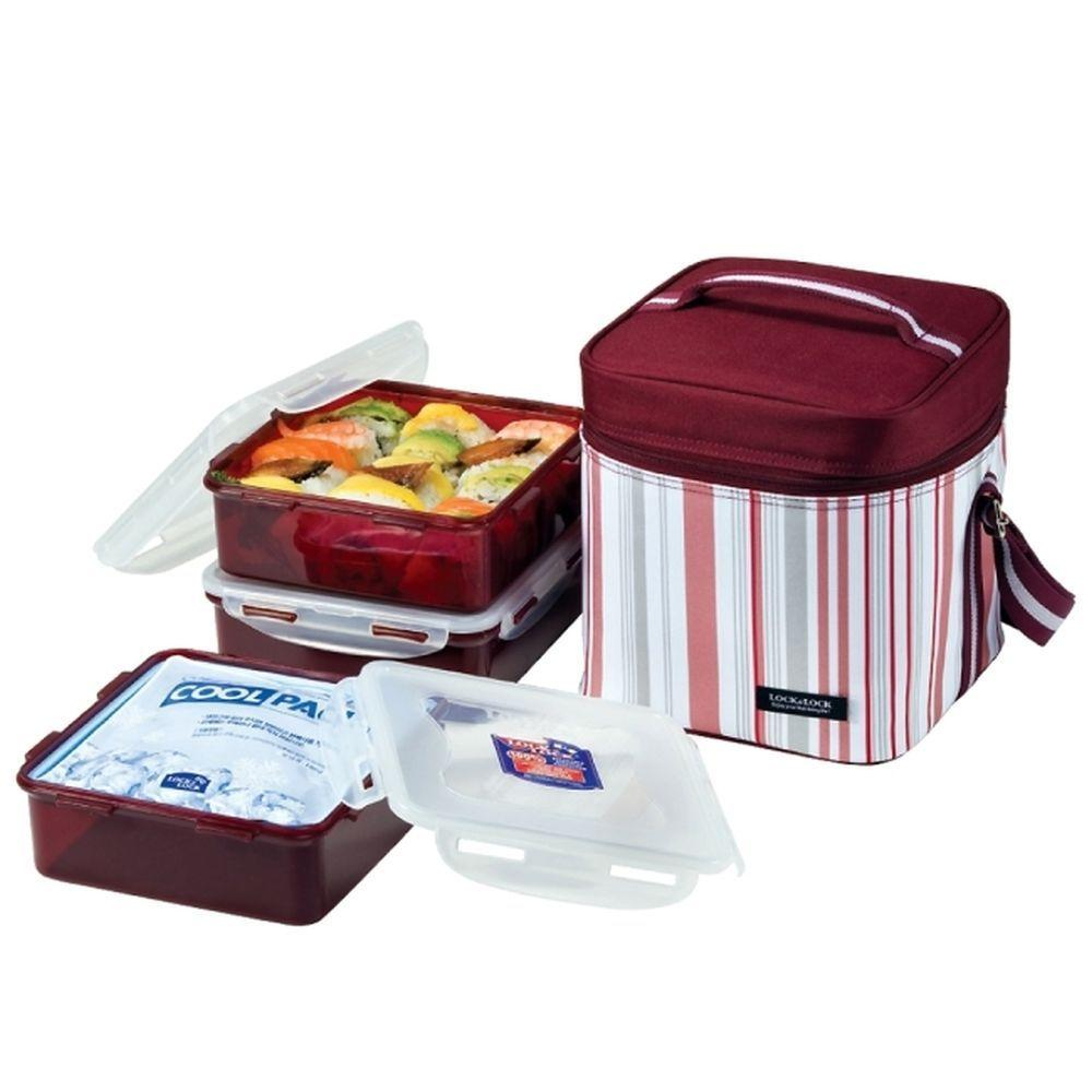 Lock and Lock Square Lunch Box 3 Piece Set Purple-DISCONTINUED