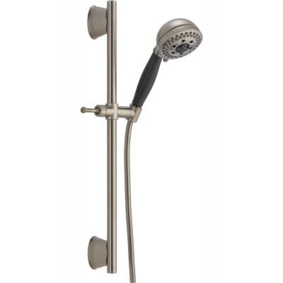 5-Spray 4.1 in. Single Wall Bar Mount Handheld H2Okinetic Shower Head in Stainless