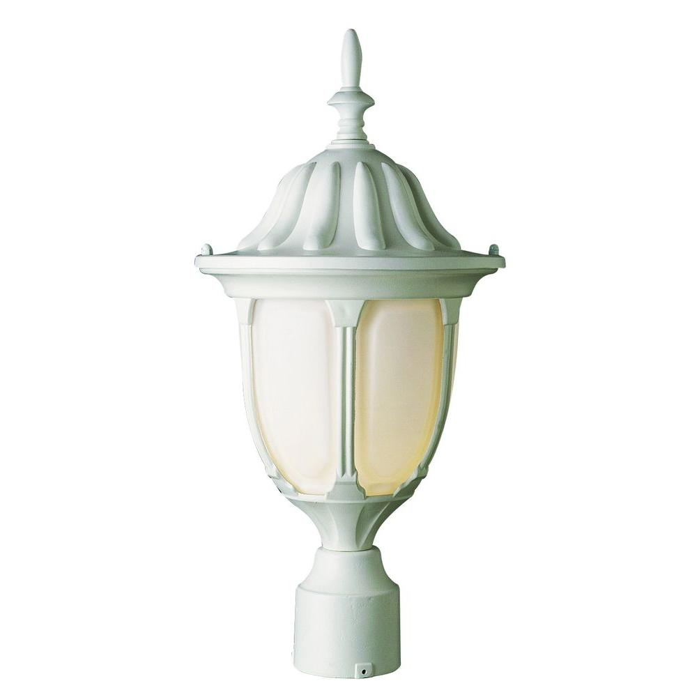 Bel Air Lighting Cabernet Collection 1 Light 19 in. Outdoor Verde Green Post Lantern with White Opal Shade