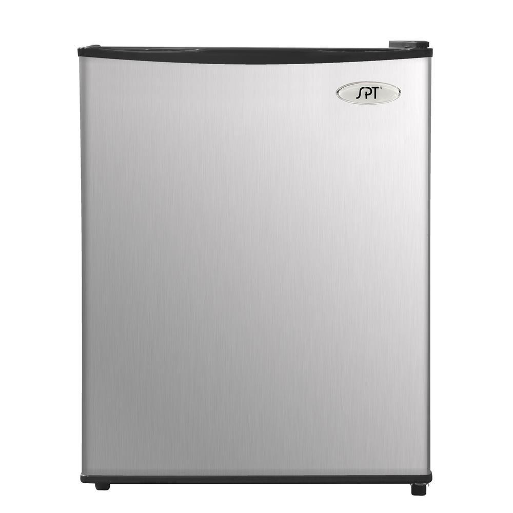 Spt 2.4 Cu. Feet Compact Refrigerator, Stainless Steel/Black