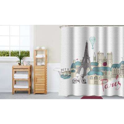 Trip to Paris Multi Color 17-Piece Bath Rug, Ceramic Accessories and Shower Curtain Set