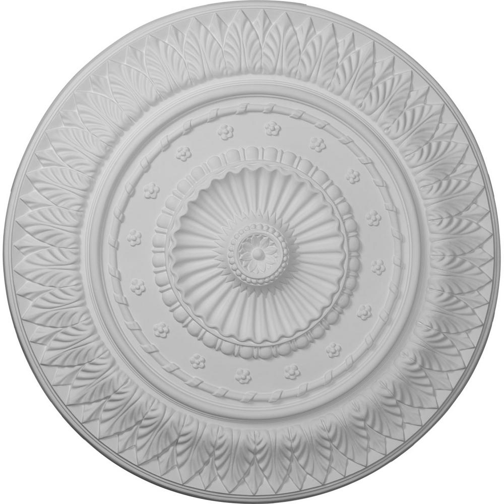 Ekena Millwork 26-5/8 in. x 2-1/4 in. Christopher Urethane Ceiling Medallion, Hand-Painted Steel Gray