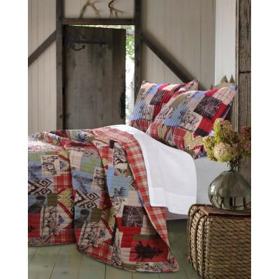 Rustic Lodge 3-Piece Multicolored Full and Queen Quilt Set