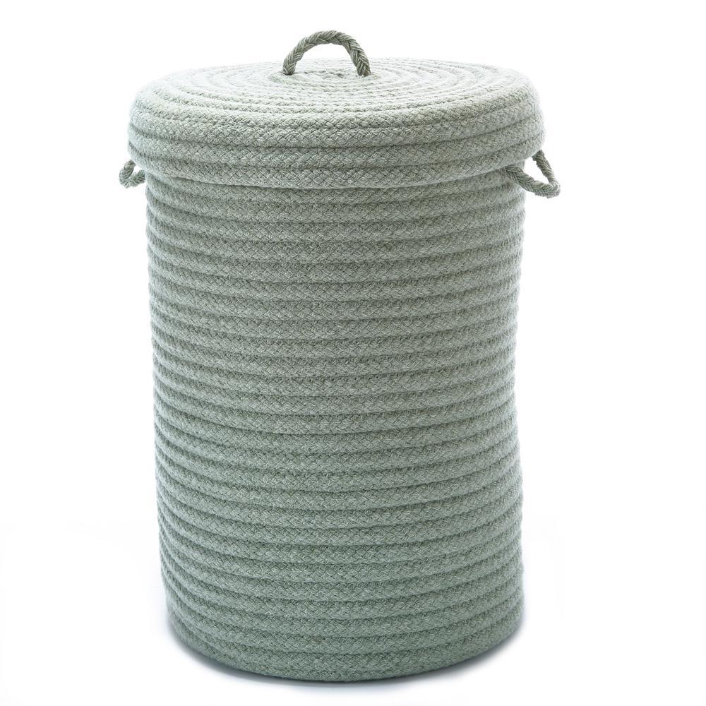 16 in. x 16 in. x 24 in. Moss Green Blended Wool Hamper