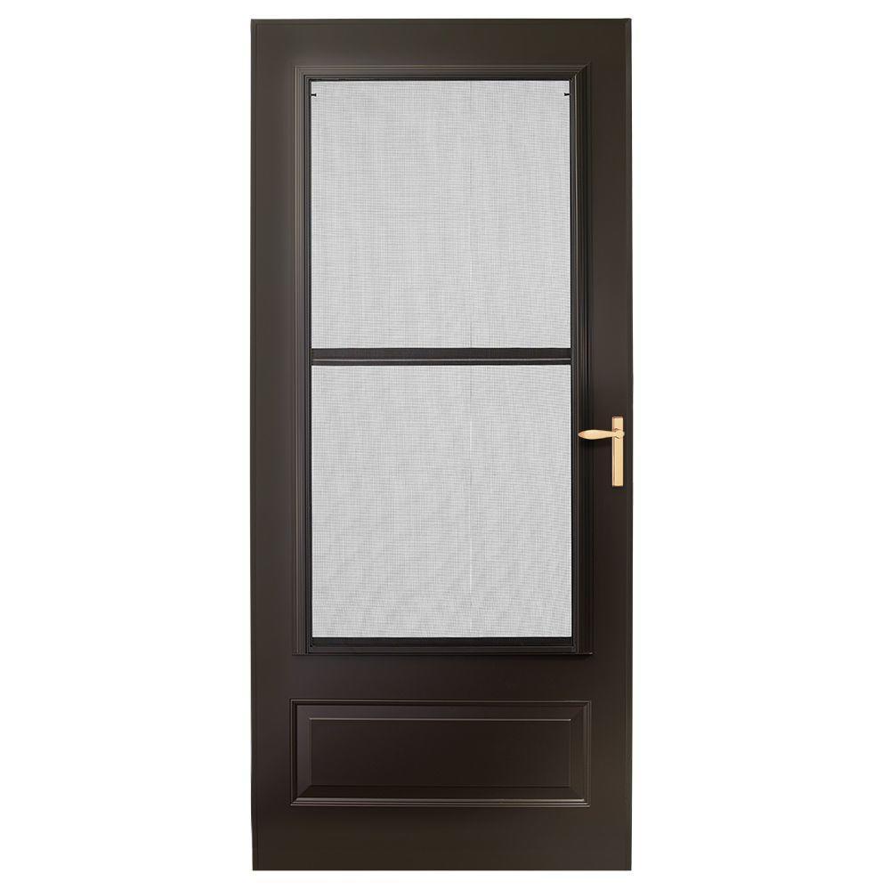 32 in. x 80 in. 300 Series Bronze Universal Triple-Track Aluminum Storm Door with Brass Hardware
