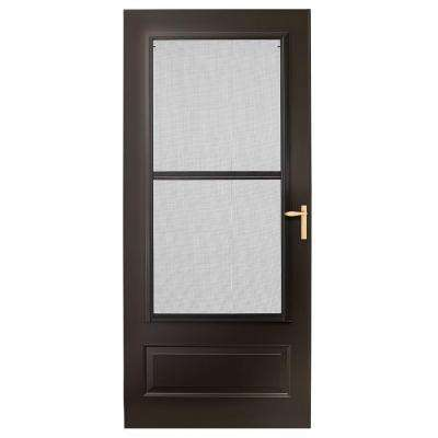 32 in. x 80 in. 300 Series Bronze Universal Triple-Track Aluminum Storm Door with Brass Hardware