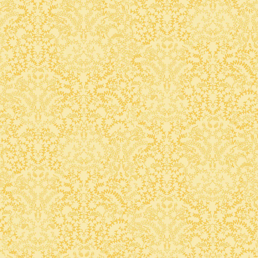 The Wallpaper Company 56 sq. ft. Yellow Modern Lace Damask Wallpaper