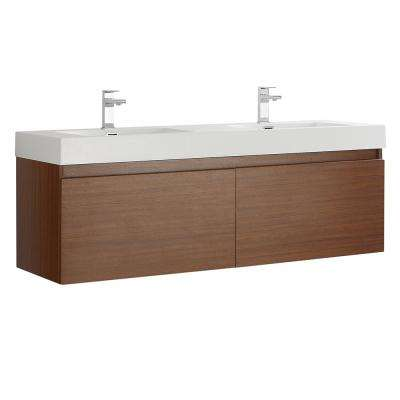 Mezzo 60 in. Modern Wall Hung Bath Vanity in Teak with Double Vanity Top in White with White Basins