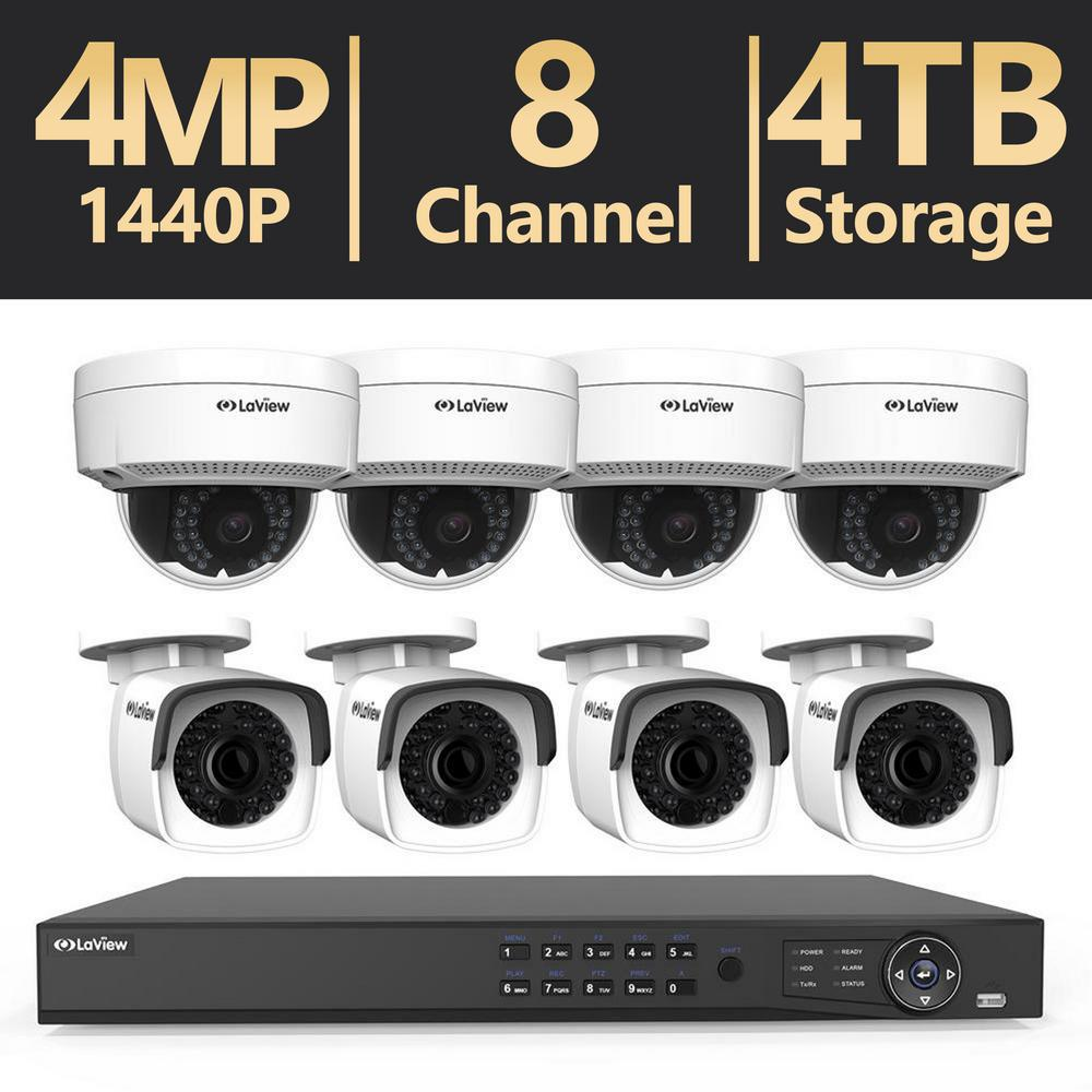 8-Channel 4MP Full HD 2TB and Up Surveillance Systems Dome Cameras
