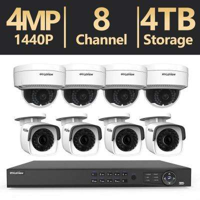 8-Channel 4MP Full HD 2TB and Up Surveillance Systems Dome Cameras 100 ft. NightVision Free Remote Viewing