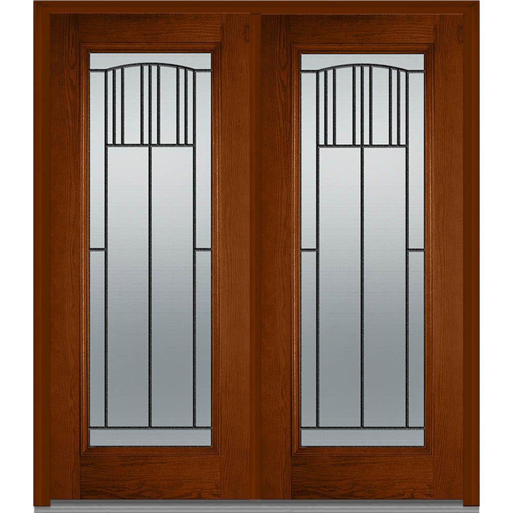 MMI Door 72 in. x 80 in. Madison Left-Hand Inswing Full Lite Decorative Glass Stained Fiberglass Oak Prehung Front Door