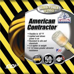 American Contractor 50 ft. 10/3 SJEO Outdoor Heavy-Duty T-Prene Extension Cord... by American Contractor